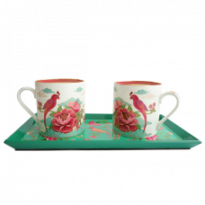 ​Ambreen Hibiscus Mugs and Tray